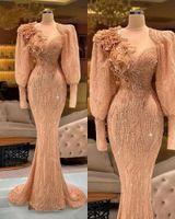 Luxury Beading Mermaid Evening Dress Long Sleeve Flower Appliqued Arabic Party Dresses Women Applique Robe De Soiree