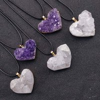 Irregular Natural Crystal Stone Heart Shape Pendant Necklaces With Rope Chain For Women Men Party Club Birthday Wedding Jewelry
