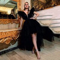 Sexy Black Hi Low Tulle Formal Evening Dresses For African Girl Dee V Neck Backless Plus Size Prom Party Gowns Vestidos De Novia