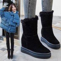 Bottes pour femmes chaudes et confortables 2020 NOUVEAU Bottes courtes en bas épais pour augmenter les bottes de combat de neige pour femmes Chaussures sexy de Aiyi N5CD #