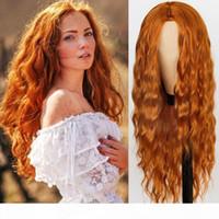 Rouge Noir Orange Couleur Longue Water Waet Coiffure Perruques pour femmes Synthétiques Hair Température Fibre Taille moyenne