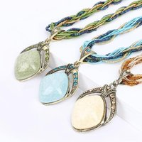 Sweet Handmade Bohemia Style Retro Dream Rhombus Gem Necklace Twist Rope Chain Multilayer Beads Crystal Pendant Necklaces