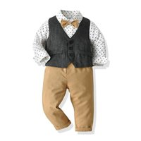Clothing Sets Autumn Spring Kids Set Clothes Boys Suit Gray Vest + Dot Shirt Solid Pants With Bow Formal Toddler Costume 1 To 6 Years