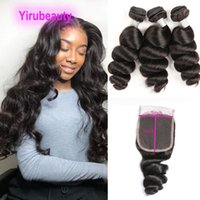 Peruvian Human Virgin Hair 3 Bundles With 5*5 Lace Closure Baby Hairs Yirubeauty Loose Wave Texture Double Wefts 10-30inch