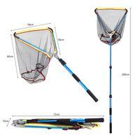 Collapsible Fishing Hand Net Foldable Aluminum Alloy Long Handle Telescopic Fish Catching Landing Nets