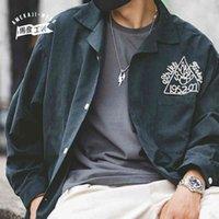 Maden Harajuku 자수 셔츠 남성용 일본 Streetwear 레트로 볼링 캐주얼 코트 셔츠 단단한 부드러운 가슴살 210325