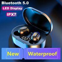 E7S TWS Auriculares inalámbricos Bluetooth Reducción de ruido A prueba de agua LED Pantalla LED en oreja STEREO STEREO IPX7 con micrófono Apple Android Auricular