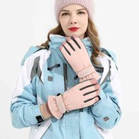 Gloves female winter outdoor sports skiing cycling warm windproof cold proof water splashing touch screen student cotton gloves