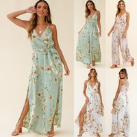 İki Parça Elbise Çiçek Rahat Tulum Artı Boyutu Kadın Sling Plaj Pantolon Takım Elbise