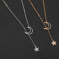 Bamoer New Arrival Fashion 925 Sterling Silver Silver Moon and Star Tales Catena Collane pendente Collane per le donne Gioielli Fine SCN108 1898 Q2