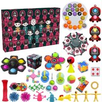 Party Favor Fidget Toys squid game Countdown 24 Days Advent Calendar Pack Anti Stress Kit Relief Figet Toy Blind Box Kids Christmas Gift