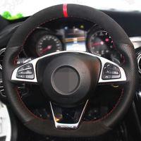 DIY Non-slip Car Steering Wheel Cover Black Genuine Leather Carbon Fiber Suede For Mercedes-Benz C200 C250 C300 B250 B260