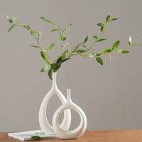Ceramic houses Ambient ornaments White ceramic vase Small flower TV Box Wine cabinet Decorations Vazen J0514
