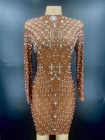 Casual Dresses Silver Rhinestone Pearls Transparent Short Dress Women Dancer Long Sleeve Outfit Birthday Celebrate Prom