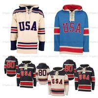 Benutzerdefinierte 1980 Wunder auf Team USA Eishockey Jersey Hoodies Näherte Namen und Anzahl Beige blau Navy Hoodie Sport Pullover Top Qualität