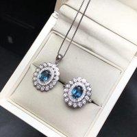 Boutique Jewels 925 Sterling Silber Topas Anhänger Ring mit 2 Blumen 1 Karat Armband, Ohrringe Halskette