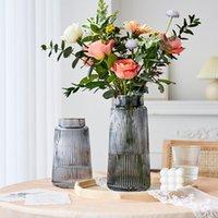 Современный стеклянный ваза настольный декор гостиной высокий прозрачный цветок украшения дома подарки вазы