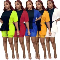 women contrast color Panelled 2 two piece Tracksuits suits Summer loose short sleeve t shirt slim shorts outfits set casual plus size ladies clothing