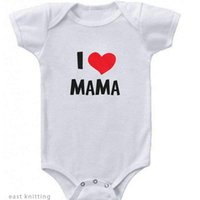 Rompers Dreastern Born Baby Clothes Short Sleeve Girl Boy Clothing I Love Papa Mama Design 100%Cotton De Costumes White