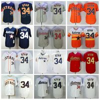 1980 2006 레트로 34 Nolan Ryan 빈티지 저지 야구 FlexBase 멋진베이스 팀 해군 파란색 흰색 오렌지 회색 모든 스티치 쿠퍼스 타운 은퇴 탁월한 품질