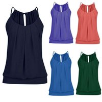 Women's Tanks & Camis Round Neck Ruffled Ties Strapless Camisole Sleeveless Tops Women Comfortable V-neck Bow Casual Tank Top Vest 2021 Summ