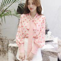 Luck A Autumn Fall Shirts Women Lantern Sleeve Chiffon Blusas Mujer Casual Bow Polka Dot Tops Sweet Tie Pink Blouses Women's &