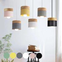 Pendant Lamps Designer Nordic Creative Colorful Wood Lights E27 Dinning Room El Home Decor Kitchen Island Bar Hang Lamp