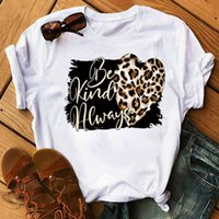 Fashion Women T Shirt Graphic Leopard Love Print Tee Tops Short Sleeve 90s Female Tees Women's T-Shirt Femme