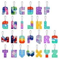 2022 Chirstmasのアルファベットの文字ポッププッシュキーチェーンパーティーの好意携帯電話ストラップシリコーン文字官能バブルキーリングシンプルなディンプルフィジット指おもちゃの贈り物