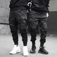2021 New Joggers Cargo Pants for Men Casual Hip Hop Pocket Male Trousers Sweatpants Streetwear Ribbons Techwear Slim Pants