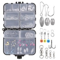 Accessori da pesca 90PCS / 256PCS Kit Kit Ganci a manovella Pink Pesi Swivels Snap Connettori Perline Tackle Box Set
