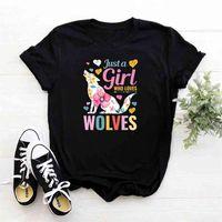 Sadece bir kız kurtları seven tişört kadın kurt grafik camiseta mujer fcasual pamuk t shirt Harajuku tshirt 210423