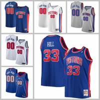 2021 Equipo de baloncesto Jerseys Detroit Pistons Jersey Blake Griffin Grant Hill Reggie Jackson Azul Blanco Color Gris Pedido S-XXXL Malla Secado rápido Seco