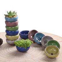 12pcs Mni Ceramic Flower Pots Juicy Plants Small Bonsai Pot Home Garden Desktop Decorations Succulent Plant Pots;Size 6*6*3.3cm Multi Color Randomly Sending