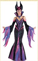 Deluxe Cosplay Purple Dress Dark Witch Outfits Adult Women's Halloween Costume With Stand-up Collar And Headwear