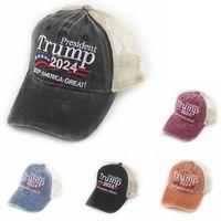 5 Typen Donald Trump 2024 Baseball-Hüte Patchwork gewaschener Outdoor Machen Sie Amerika großes Nochmals-Hut Republikanischer Präsident Mesh Sportkappe