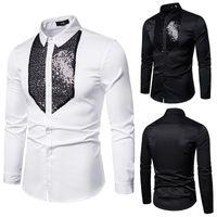 الرجال اللباس قمصان أبيض أسود سهرة قميص الرجال الترتر التصحيح الصلبة طويلة الأكمام يتأهل مرحلة الزفاف حفلة موسيقية رجل بلوزة الذكور