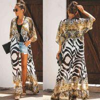 Women's Casual dress Zebra Snake Print Chiffon Beach Cover Up Tunisia For Long Kaftan wear Boho Chic Hippie wear 0723