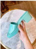 CD Damen Gummi Hausschuhe 2021 Neue Frauen Dicke Ferse Quadratische Zehe Hausschuhe High Heeled Frauen Ferse Höhe 5.5cm Frontabsatz Höhe 2.5cm