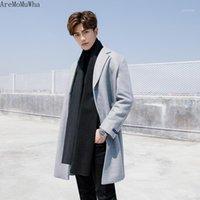 Miscele di lana maschile AremomuWha 2021 Cappotto di lana maschile Versione coreana della sezione lunga di colore solido sottile addensante ad ispessimento winderbreaker12411