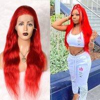 Rote Körperwelle 13x4 Spitzefront-menschliche Haarperücke vorablagered Haaransatz peruaner Remy Perücke mit Babyhaar