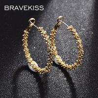 Hoop & Huggie BRAVEKISS Irregular Big Circle Earrings Electroplating Gold For Women Fashion Earring Jewelry Dating Party Gift UE0738