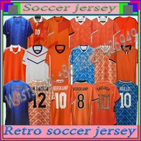 1988 # 12 van Basten # 10 Gullit # 17 Rijkaard Mens Futbol Formaları 1998 Hollanda # 8 Bergkamp Futbol Gömlek 1995 1991 1988 Bergkamp Retro