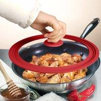 28-30-32 cm Kızartma Pan Cam Kapak İşlevli Yuvarlak Sınıf Silikon WOK Kapakları Stok Pot Kapak Ev Malzemeleri Mutfak Aletleri için Tavalar