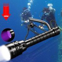 Professional Diving 5UV Underwater 220m Scuba Torch 395nm per le immersioni, all'aperto, campeggio USB ricaricabile 18650 torce torce