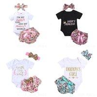 Childrens Sets Clothes Letters Prints Baby Romper Briefs Turban Three-piece Suit