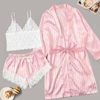 Women's Sleepwear Long Sleeve Womens Pajamas Sexy Lace Lingerie Nightwear Underwear 3PC Suit Pajama Sets For Women