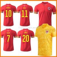 2021 Уэльс футбольные трикотажные майки 20 21 Men Kits Kits 2020-21 Bale Allen James Ben Davies Wilson Camisetas Home Red and Yellow Maillot Джерси Футбольные рубашки