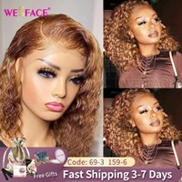 27 Short Curly Ombre Bob Wig Lace Front Human Hair Wigs Honey Blonde Brazilian Kinky Curly Closure wig For Black Women 150%180%