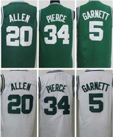 남자 농구 유니폼 5 Garnett 34 Pierce 20 Allen Jersey Black 화이트 그린 2007-08 레트로 마모 및 반바지